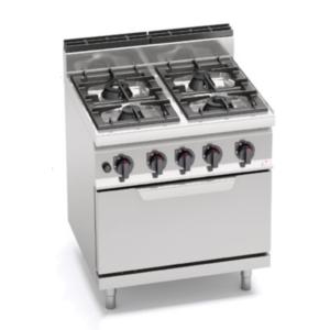 cucina 4 fuochi a gas con forno serie 700 berto's