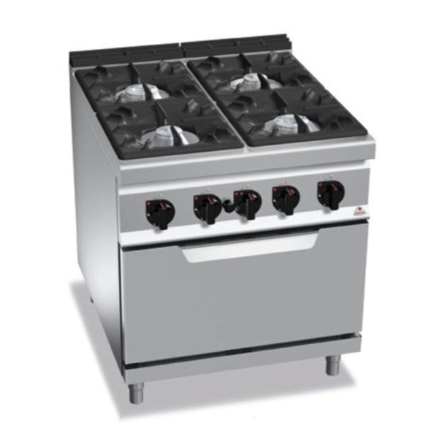 cucina 4 fuochi a gas con forno serie 900 berto's