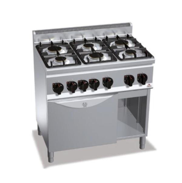 cucina 6 fuochi a gas con forno serie 600 berto's