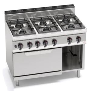 cucina 6 fuochi a gas con forno serie 900 berto's
